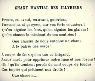 Rare Illyrian fighting song is included in the book of the French monk Pierre Bauron in 1888