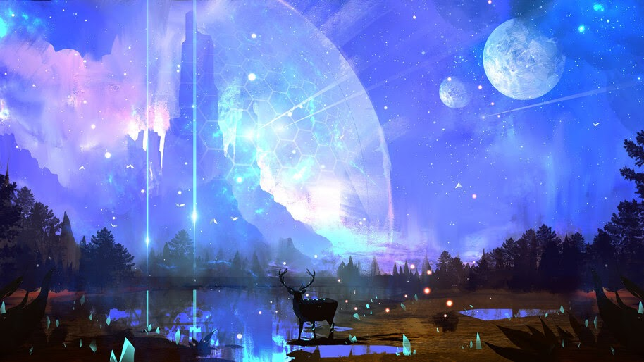 Digital Art, Fantasy, Night, Scenery, 4K, #4.1006