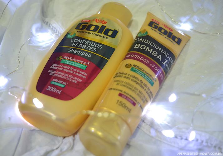 Shampoo e condicionador Compridos + Fortes Niely Gold