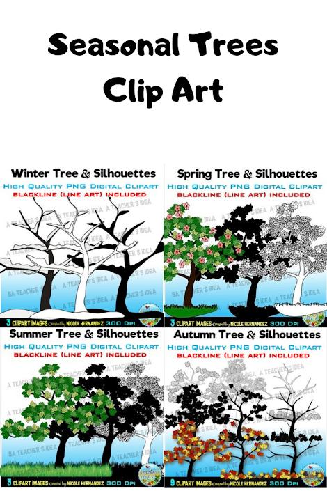 winter clipart, spring clipart, summer clipart, autumn clipart, fall clipart