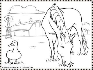 mewarnai gambar kuda dipeternakan