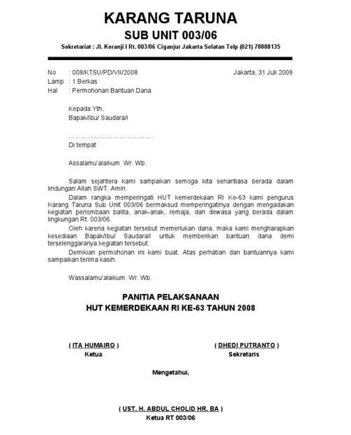 Contoh Surat Permohonan Bantuan Dana Agustusan