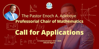 UNILAG - Pst. E.A Adeboye Professorial Chair of Mathematics Vacancy