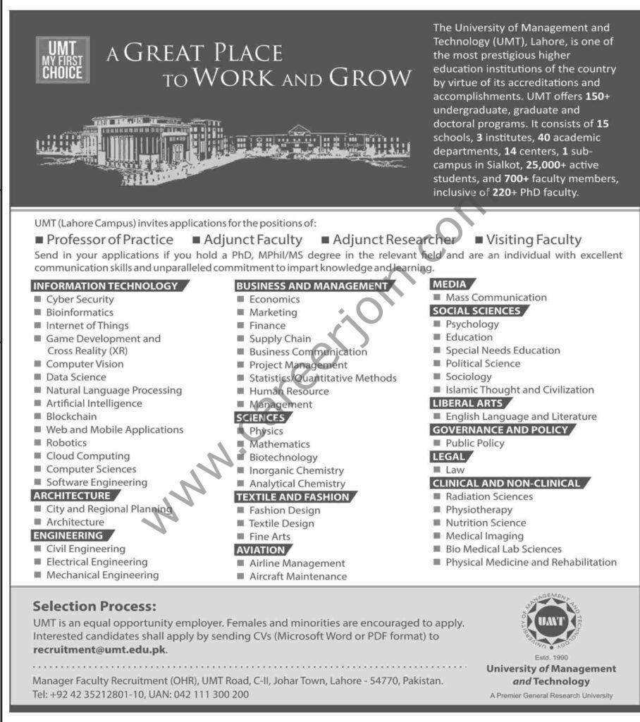 University of Management & Technology UMT Jobs 2021 in Pakistan