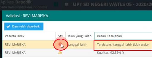 Penyebab Warning