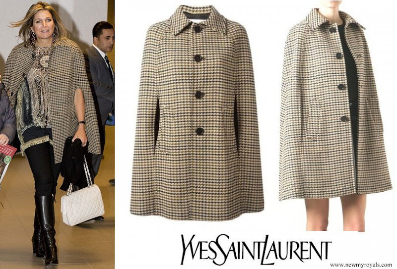 Queen Maxima wore Saint Laurent Houndstooth Cape