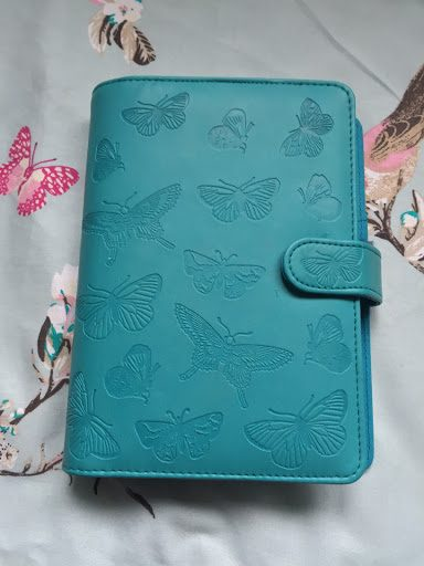 Personal planner from Paperchase, green with embossed butterfly print