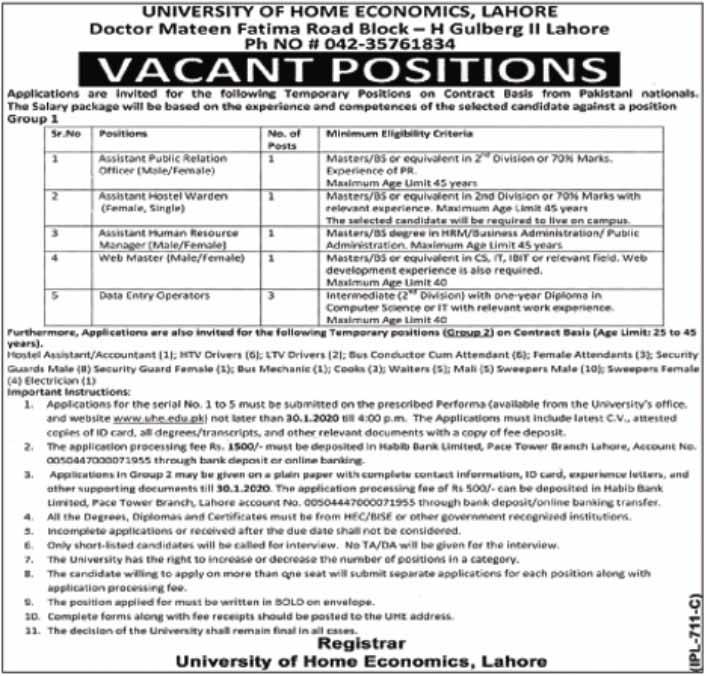 University of Home Economics Lahore Jobs