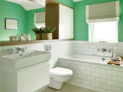 แบบห้องน้ำขนาดเล็กสีขาว เขียว