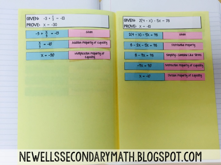 Algebra Proofs Book Mrs Newells Math – Algebraic Proofs Worksheet with Answers