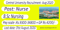 Nursing jobs Central University Odisha