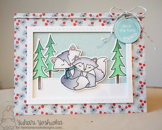 Deck the Halls Foxy Couple Card by Yukari Yoshioka | Fox Hollow stamp set by Newton's Nook Designs #newotnsnook