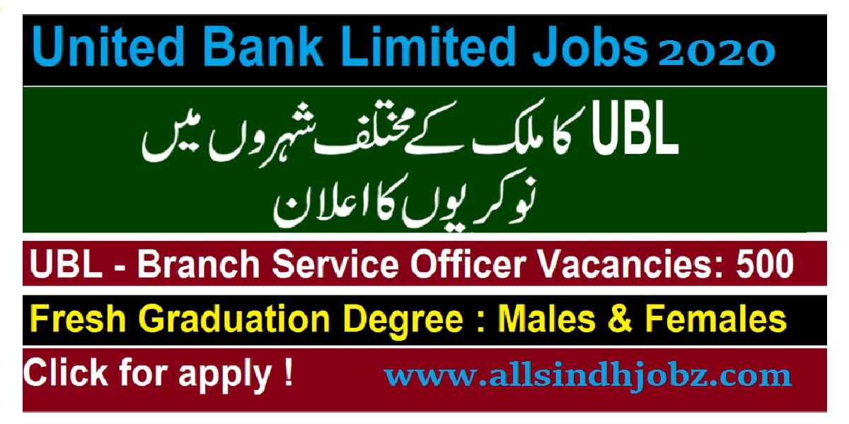 United Bank Limited (UBL) Jobs 2020 for Branch Services Officer