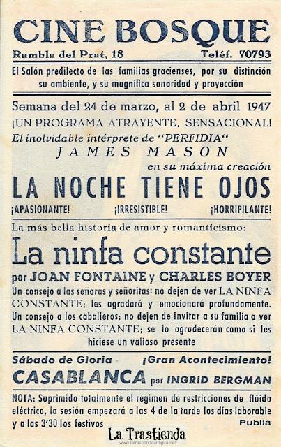 La Ninfa Constante - Programa de Cine - Charles Boyer - Joan Fontaine - Alexis Smith