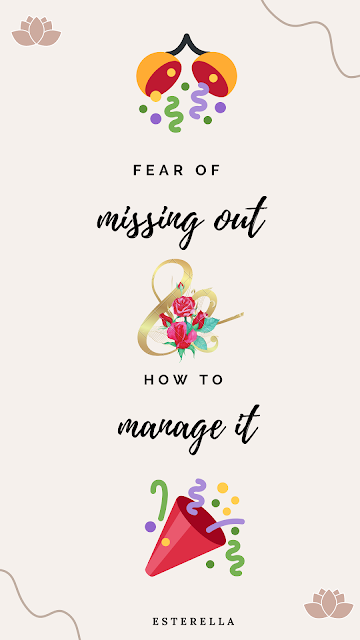 Fear of missing out and how to cope with it- confetti and flower design in the corners.