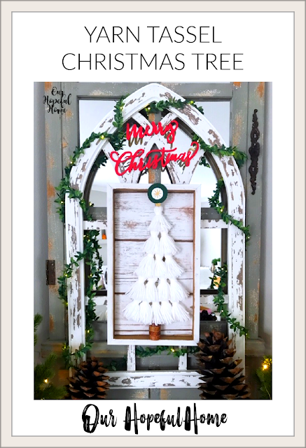 yarn Christmas tree wall art cathedral background