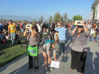 viewing the solar eclipse from Griffith Observatory