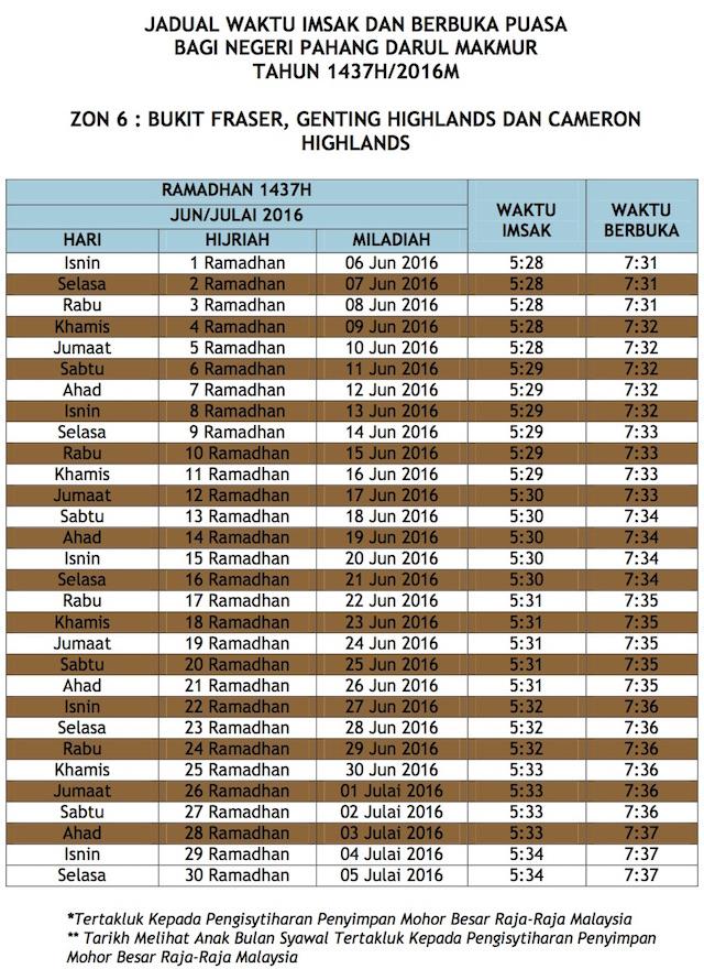 Jadual Waktu Buka Puasa Dan Imsak 2016 Pahang zon 6