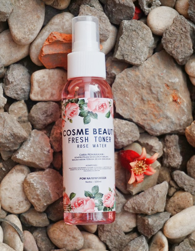 rose water, air mawar, air mawar lokal, cosme beauty fresh toner rose water