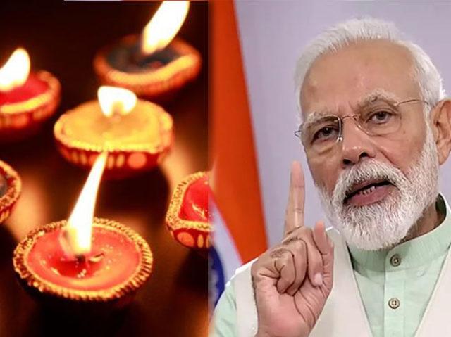 प्रधानमंत्री मोदी की अपील पर देशभर में लोगों ने रात 9 बजे जलाए दीप