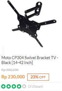 Bracket TV Moto CP304 Swivel LCD / LED 14-42 Inchi