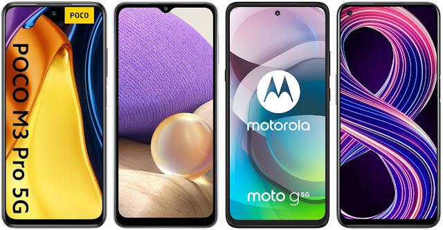 Xiaomi POCO M3 Pro 5G vs Samsung Galaxy A32 5G vs Motorola Moto G 5G vs Realme 8 5G