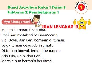 Kunci Jawaban Kelas 1 Tema 8 Subtema 2 Pembelajaran 1 halaman 63 65 www.simplenews.me