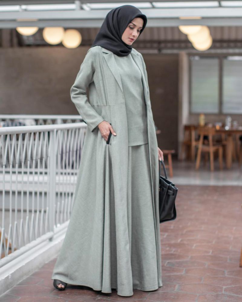 trend model baju lebaran Gamis Long Outer yang Menyatu