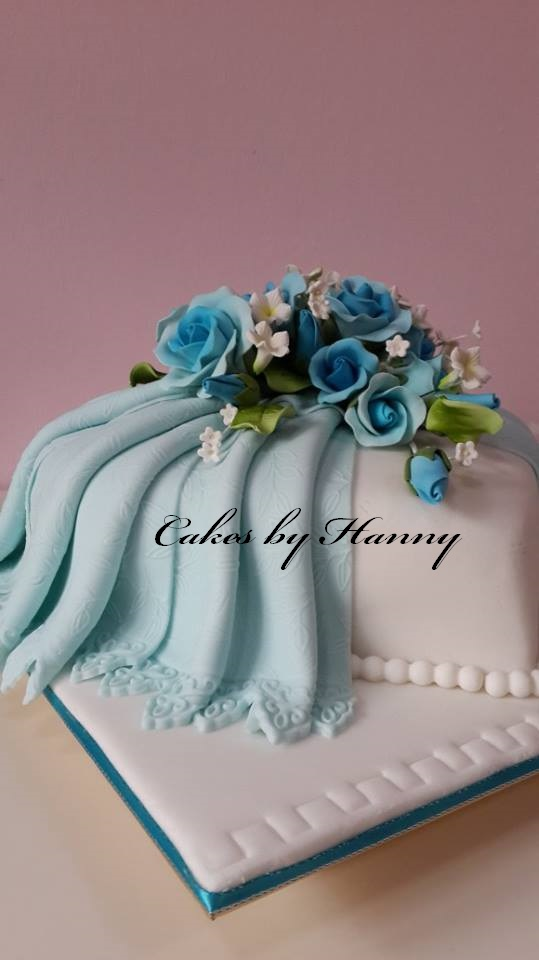 Cakes By Hanny Blue Heart Shaped Cake Wedding Cake