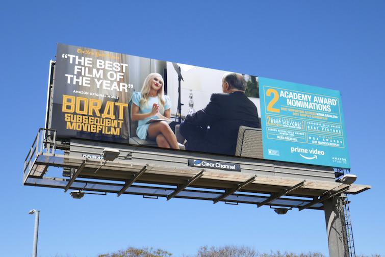 Borat subsequent Moviefilm Oscar nominee billboard