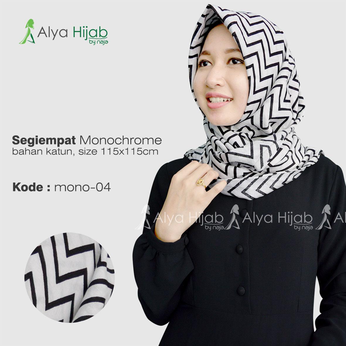 Jilbab Segiempat Dan Fasmina Monochrome Alya Hijab By Naja Jual