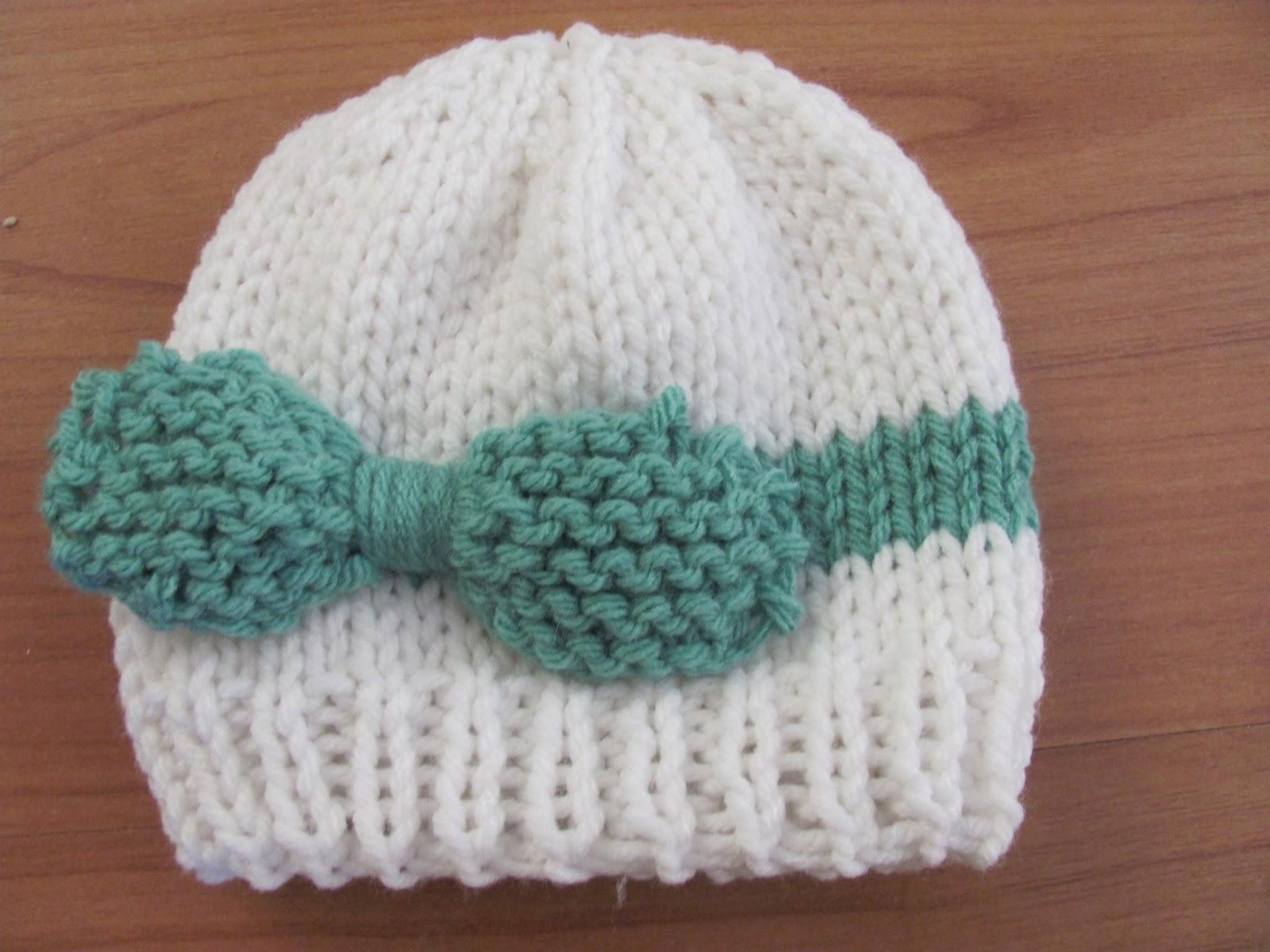 Pola Rajut Topi Bayi Knitted Baby Bow Hat