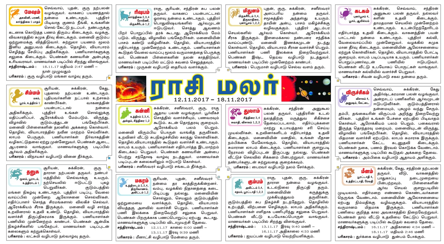 Dinamalar Newspaper Weekly Rasipalan
