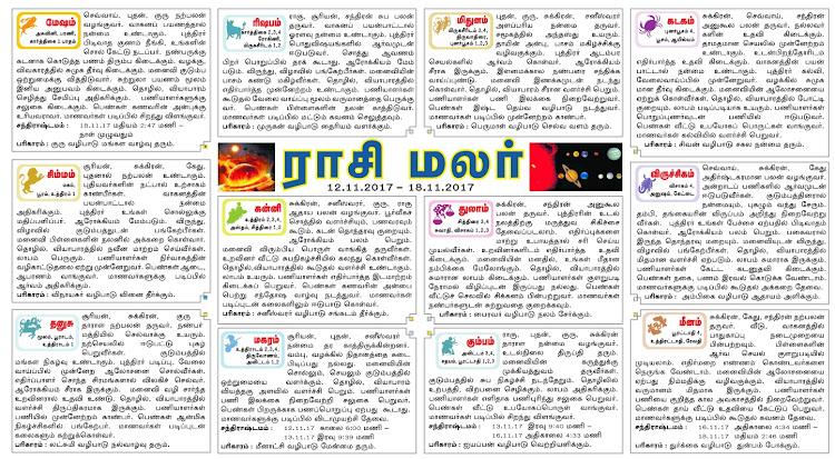 Tamil Weekly Rasipalan