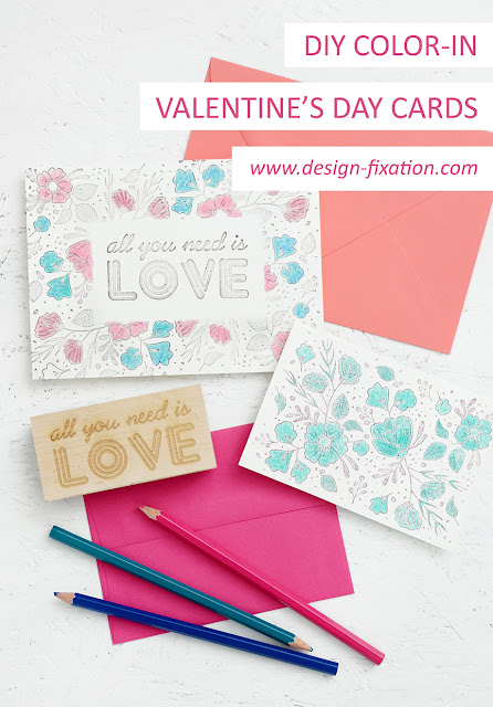 DIY Color-In Valentine's Day Cards /// By Design Fixation