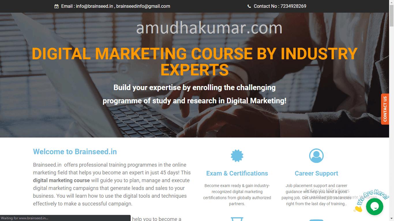 Brain Seed Digital marketing training institute in chennai Amduhakumar