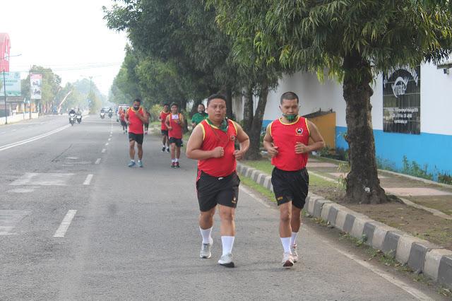 Joging Tempuh 3,5 Km, Kasdim Tekankan Pentingnya Olah Raga Bagi Anggota TNI