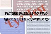 Eye Test-Picture Puzzles to find hidden Letters/Numbers