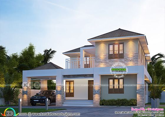 Elegant sloping roof 2439 sq-ft Kerala home design