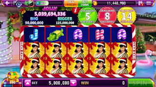 Screenshot of Bettie Page Holiday Splash game at Hit It Rich! Slots