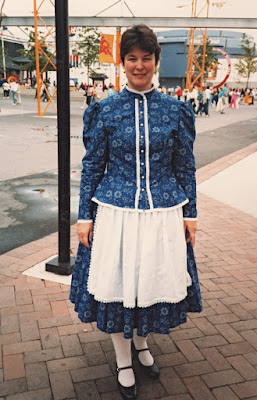 Robin Atkins, Hungarian folk dancer, wearing costume of Kekfesto (blue-dyed fabric)