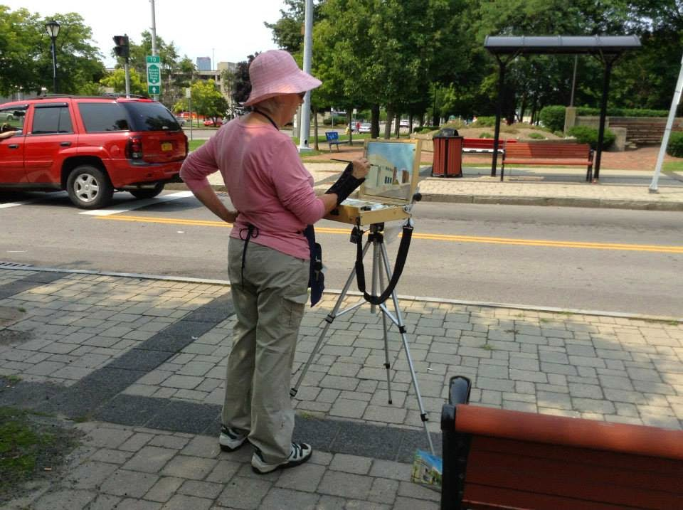Kath Schifano, painting downtown, Kathy pink hat