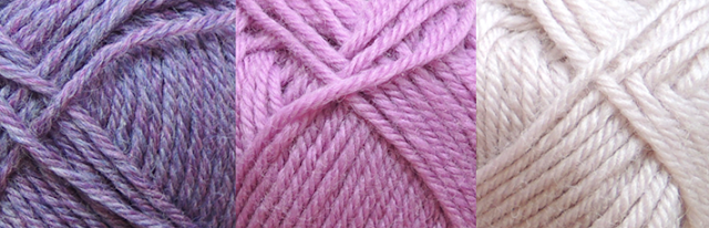 Purple, pink and beige yarn by Drops Karisma