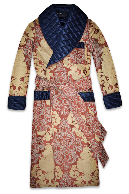 mens dark blue gold dressing gown robe quilted silk housecoat smoking jacket classic gentleman