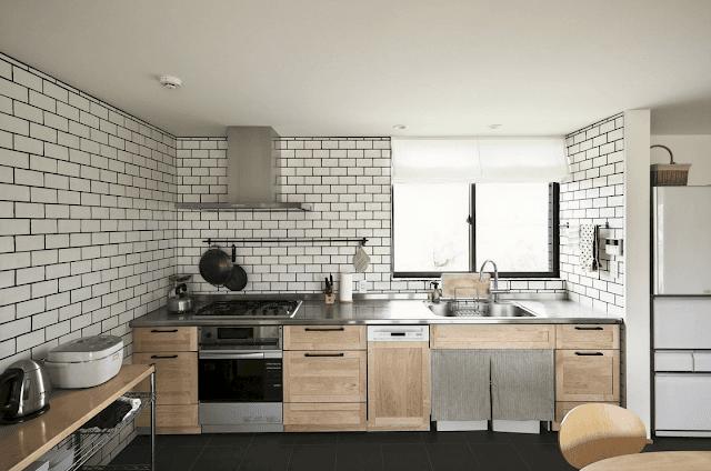 Inspirasi Ide Desain Dapur Minimalis Asia dengan dinding bata putih