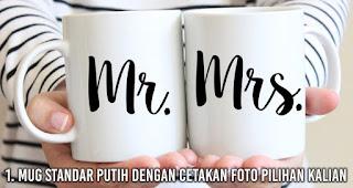Mug standar putih dengan cetakan foto pilihan kalian
