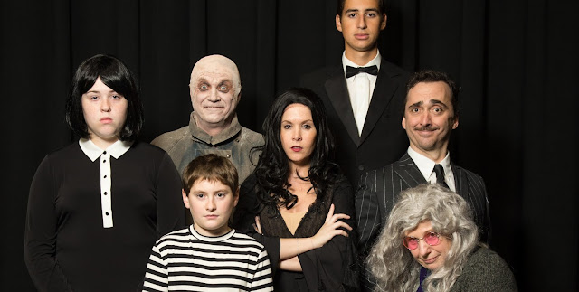 Pictured in this FPAC Addams Family portrait are, L-R, Katie Gray (Wednesday) of Milford, Alan Mercer (Fester) of Medway, Andrew Falanga (Pugsley) of Franklin, Casey Andrade (Morticia) of Lincoln, RI, Aaron Frongillo (Lurch) of Franklin, Nick Paone (Gomez) of Franklin, and Raye Lynn Mercer (Grandma) of Franklin