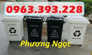 Thùng rác y tế 60L, thùng phân loại rác y tế, thùng rác y tế 60L có bánh xe
