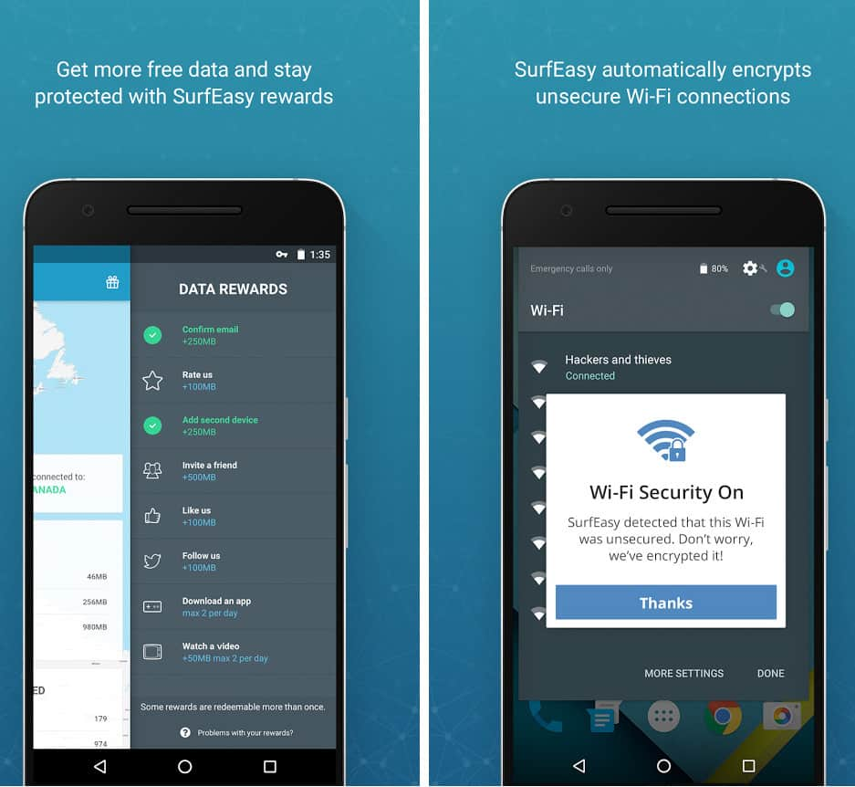 SurfEasy Secure VPN app Android