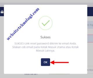 Link reset password sudah dikirim ke email